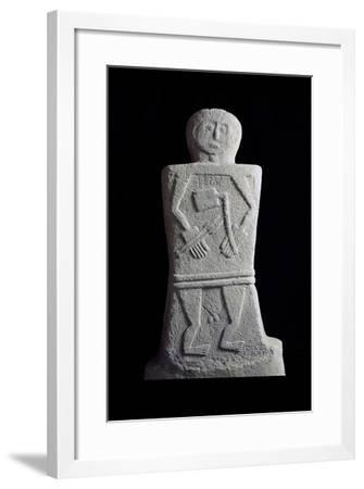 Filetto II Statue-Stele Depicting Character Armed with Square Bladed Ax and Two Javelins--Framed Giclee Print
