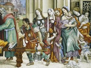 Detail of Saint John the Evangelist Reuscitating Druisana by Filippino Lippi