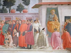 Raising of the Son of Theophilus and St Peter Enthroned by Filippino Lippi