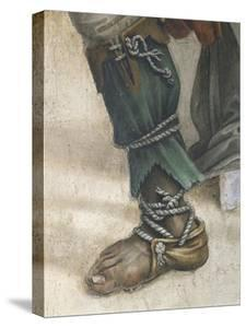 Saint John Evangelist Resuscitating Drusiana by Filippino Lippi, Detail of Footwear, Fresco, 1502 by Filippino Lippi