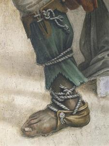 Saint John Evangelist Resuscitating Drusiana by Filippino Lippi, Detail of Footwear, Fresco, 1502 by Filippino Lippi