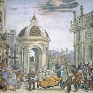 St John Evangelist Resuscitating Drusiana, Detail of Stories of St John Evangelist by Filippino Lippi