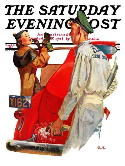 """""""Fill'er Up,"""" Saturday Evening Post Cover, April 3, 1937-McCauley Conner-Giclee Print"""
