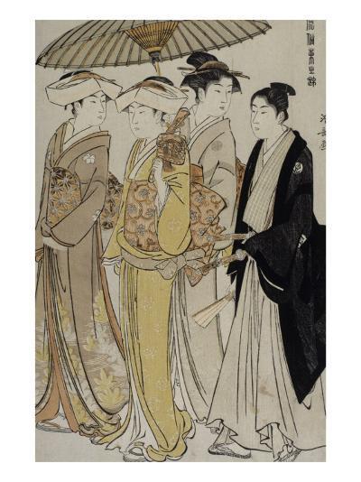 Filles de samouraï accompagnées d'un jeune homme-Torii Kiyonaga-Giclee Print