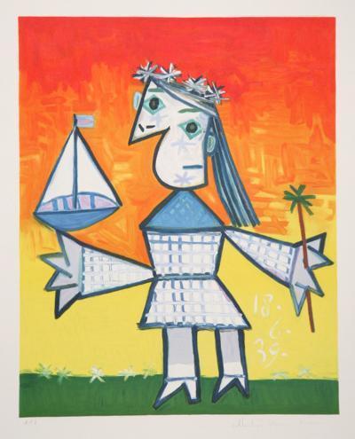 Fillette Couronee au Bateau, 1-B-Pablo Picasso-Premium Edition