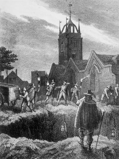 Filling a Mass Grave at Night During the Plague of London, C1665--Giclee Print