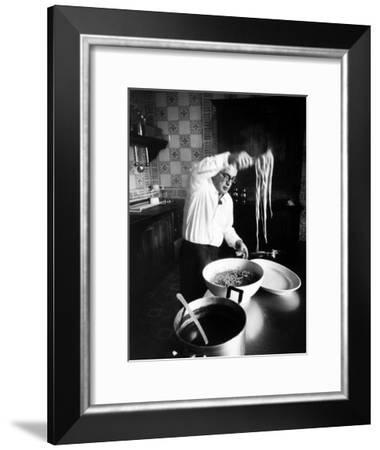 Film-Maker Dino de Laurentis Making Pasta-Carlo Bavagnoli-Framed Premium Photographic Print