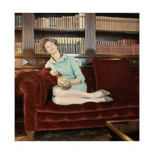 Film Strip of Four 120mm Images; Number 11; Donna Marella Agnelli Sits in Her Turin Library