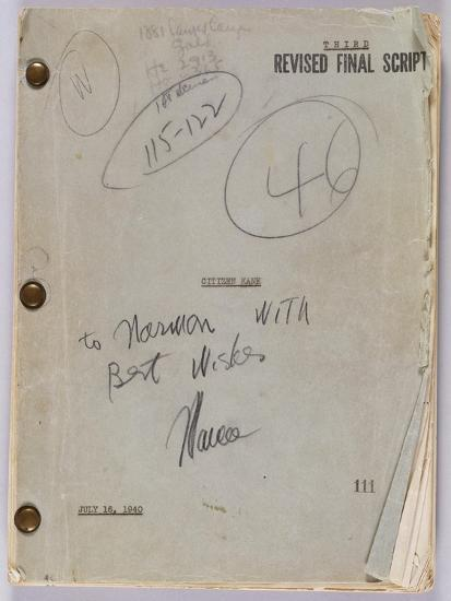 Final Script for Film 'Citizen Kane' with Annotations in Orson Welles' Hand, July 16th, 1940--Giclee Print