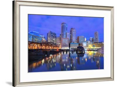 Financial District of Boston, Massachusetts Viewed from Boston Harbor.-SeanPavonePhoto-Framed Photographic Print