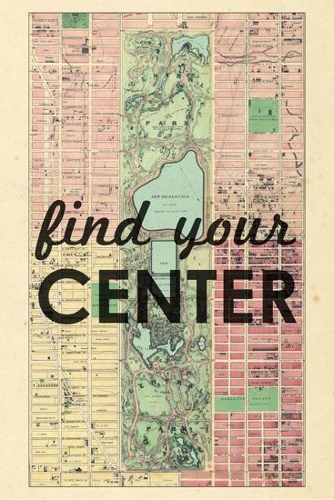 Find Your Center - 1867, New York City, Central Park Composite, New York, United States Map--Giclee Print