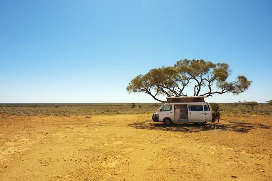 Finding Shade under a Lone Tree While Traveling in the Australian Outback in a Campervan.-Pics by Nick-Photographic Print
