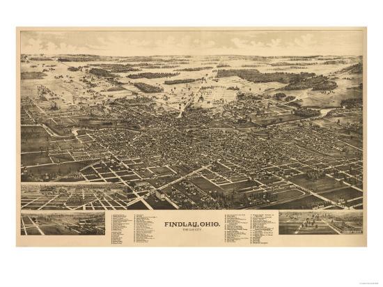 Findlay, Ohio - Panoramic Map-Lantern Press-Art Print