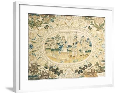 Fine Charles I Silk and Metallic Thread Needlework Picture--Framed Giclee Print