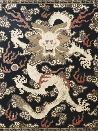 Fine Imperial Polychrome Black Lacquer Ink Cake Box Cover Depicting a Five Clawed Dragon
