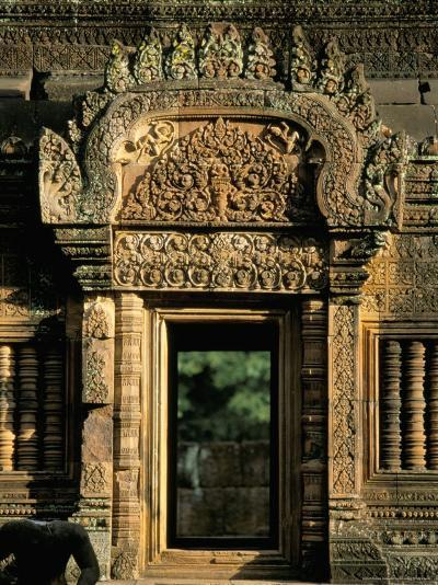 Finely Carved Doorway Within Temple of Banteay Srei, Founded in 967 AD, Angkor, Siem Reap-Richard Ashworth-Photographic Print