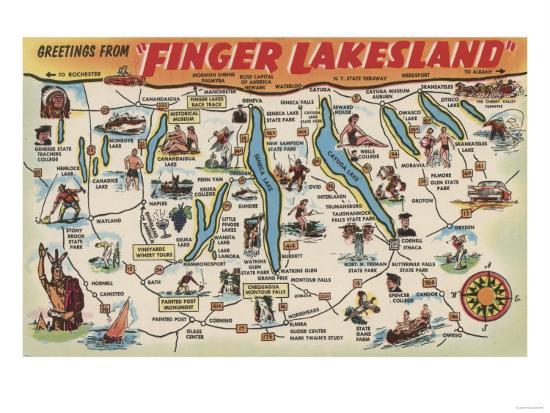 Map Of New York Finger Lakes.Fingerlakes New York Detailed Map Art Print By Lantern Press Art Com