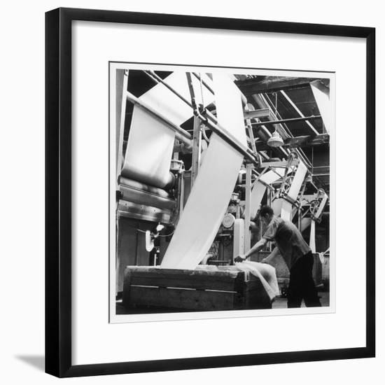 Finishing : Pulling Down Cloth at James Chadwick and Co, Lancashire-Henry Grant-Framed Photographic Print