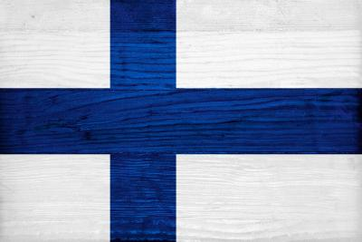 Finland Flag Design with Wood Patterning - Flags of the World Series-Philippe Hugonnard-Art Print