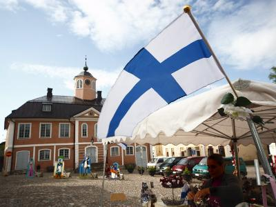 Finnish Flag and Medieval Town Hall, Old Town Square, Porvoo, Uusimaa, Finland, Scandinavia, Europe--Photographic Print