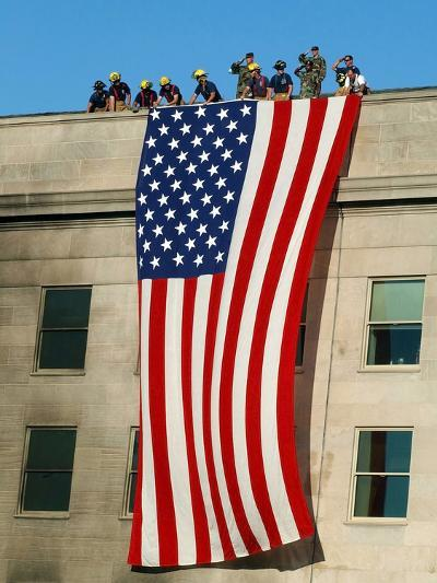 Fire And Rescue Workers Unfurl a Huge American Flag Over the Side of the Pentagon-Stocktrek Images-Photographic Print