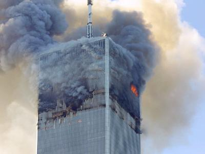 Fire and Smoke Billows from the North Tower of New York's World Trade Center September 11, 2001--Photographic Print