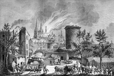 Fire at Saint Andre's Cathedral, Bordeaux, France, August 1787 (1882-188)- Cosson-Giclee Print