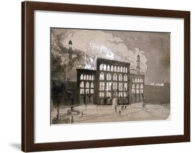 Fire at the Alhambra Theatre, Leicester Square, London, 1882-William Dickes-Framed Giclee Print