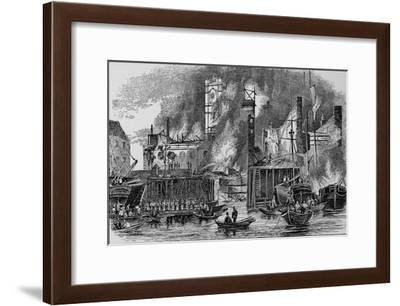 Fire at Toppings Wharf, London Bridge, 1843, c1843, (1912)--Framed Giclee Print