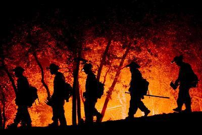 Fire Crews Work to Contain a Fire-Michal Czerwonka-Photographic Print
