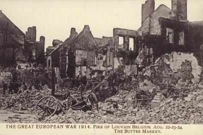 Fire Damaged Buildings, the Butter Market, Leuven--Photographic Print