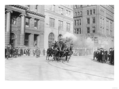 Fire Department's Horse Drawn Engine NYC Photo - New York, NY-Lantern Press-Art Print