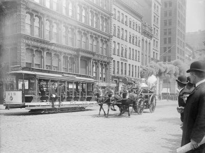 Fire Engine Being Pulled by a Horse--Photographic Print