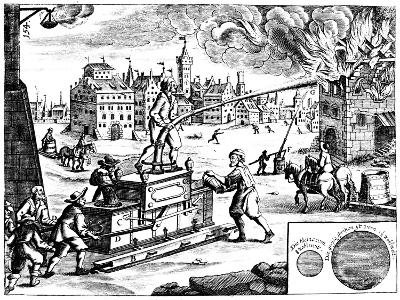 Fire Engine, from Georg Andreas Bockler's Theatrum Machinarum Novum, 1673-Georg Andreas Bockler-Giclee Print