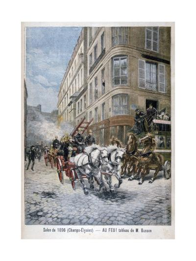 Fire Engine on the Way to a Fire, Paris, 1896-G Busson-Giclee Print