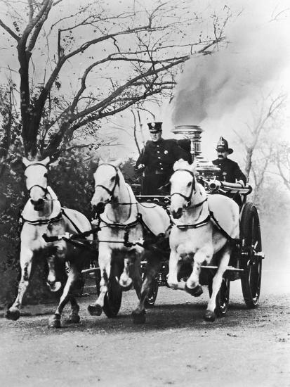 Fire Engine under Full Steam--Photographic Print