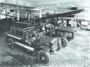 Fire Engines at Cannon Street Fire Station, City of London, 1913