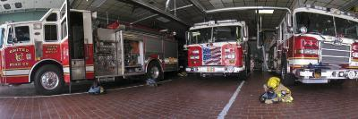 Fire Engines Ready for Call at a Station in Frederick, Maryland-Greg Dale-Photographic Print