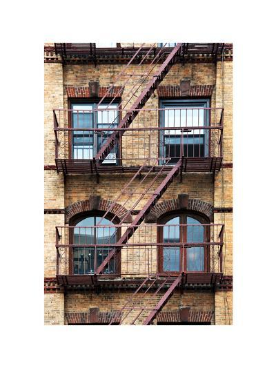 Fire Escape, Stairway on Manhattan Building, New York, US, White Frame, Full Size Photography-Philippe Hugonnard-Photographic Print