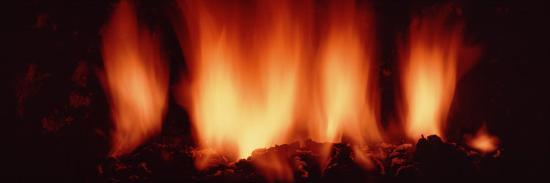 Fire in Fireplace--Photographic Print