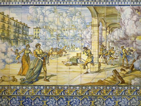 Fire of Valladolid, September 21, 1561, Painted Talavera Tiles--Giclee Print