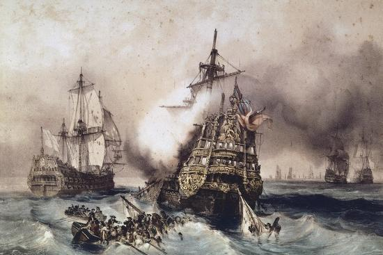 Fire on English Liner Devonshire, Blown Up in Battle, September 21, 1707, England, UK, 18th Century--Giclee Print