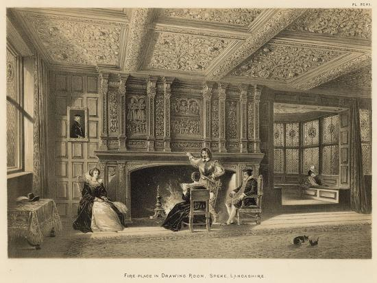 Fire-Place in Drawing Room, Speke, Lancashire-Joseph Nash-Giclee Print