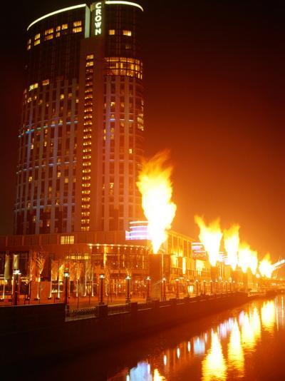 Fire Show in Front of Crown Casino, Melbourne, Australia-John Banagan-Photographic Print