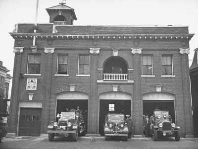 Fire Trucks Sitting Ready to Go at a Firehouse-Hansel Mieth-Photographic Print