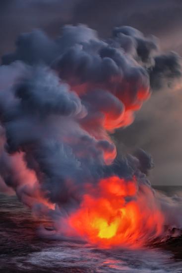 Fire Water Lava Shore Hawaii Big Island Volcano National Park-Vincent James-Photographic Print