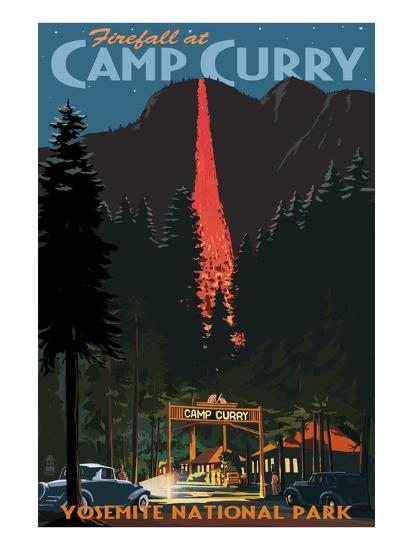 Firefall and Camp Curry - Yosemite National Park, California-Lantern Press-Art Print