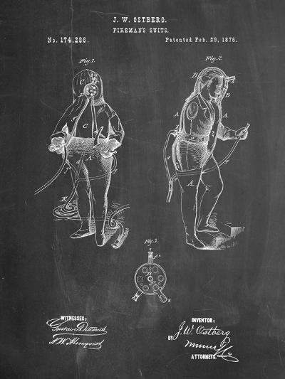 Firefighter Suit 1876 Patent Print-Cole Borders-Art Print