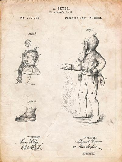 Firefighter Suit 1880 Patent-Cole Borders-Art Print