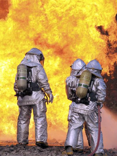 Firefighters Extinguish an Aircraft Fire During a Training Exercise-Stocktrek Images-Photographic Print